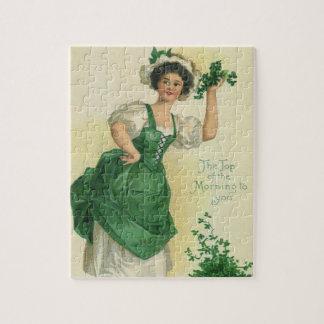 Vintage St. Patrick's Day Lass, Lucky Shamrocks Jigsaw Puzzle