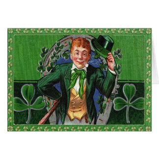 Vintage St. Patrick's Day Man in Green Postage Note Card
