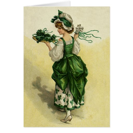 Vintage St. Patrick's Day, Woman Green Shamrocks Greeting Cards