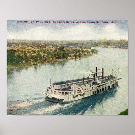 Vintage St Paul Mississippi River Steamer Poster