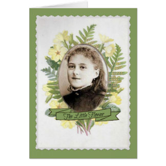 Vintage St. Therese Young Girl w floral frame Card