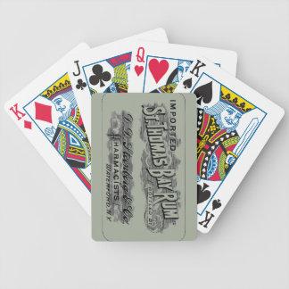 Vintage St. Thomas Bay Rum Advertising Logo Label Poker Deck