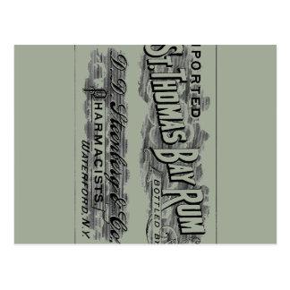 Vintage St. Thomas Bay Rum Advertising Logo Label Postcard