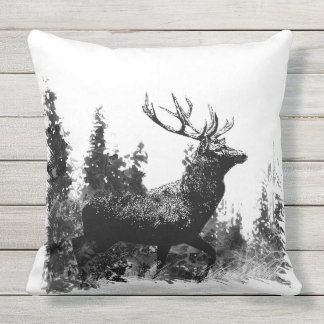 Vintage Stag Deer Animal Nature Art Outdoor Pillow