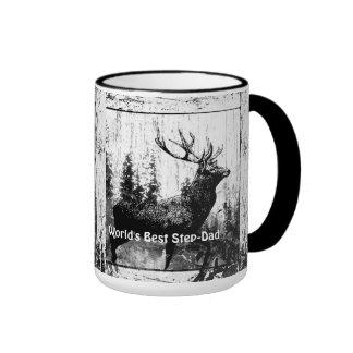 Vintage Stag Deer World's Best Step-Dad Coffee Mug