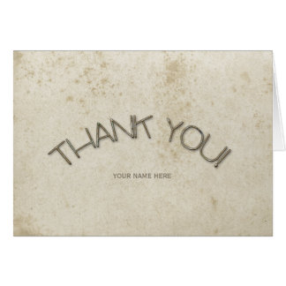 Vintage Stained Distressed Custom Paper Thank You Card