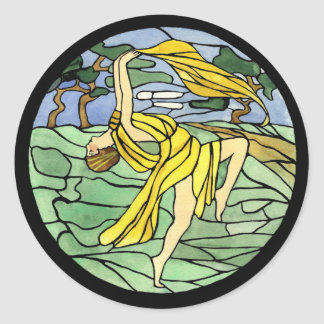 Vintage Stained Glass Dancer Stickers