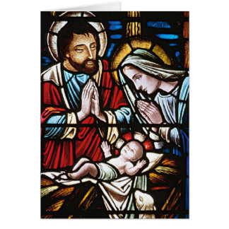 Vintage Stained Glass Nativity Card