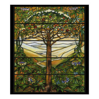 Vintage Stained Glass Pattern Apple Tree Art Print
