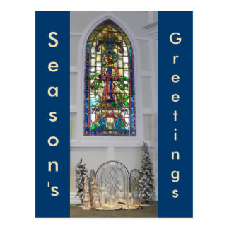Vintage Stained Glass Window & Christmas Nativity Postcard