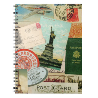 Vintage stamps and postcards travel notebook