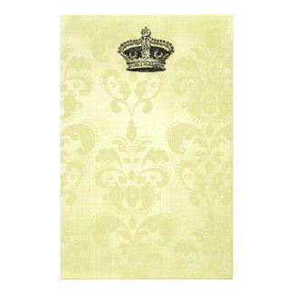 Vintage star crown on grunge Damask Custom Stationery