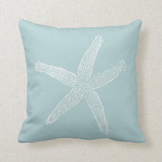 Vintage Starfish Illustration Pastel Seafoam Blue Throw Pillow