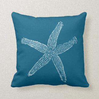 Vintage Starfish Illustration Teal Blue Throw Pillow