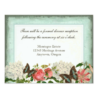 "Vintage Stargazer Lily Rose Butterfly n Hydrangea 4.25"" X 5.5"" Invitation Card"