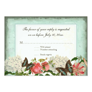 "Vintage Stargazer Lily Rose Butterfly n Hydrangea 5"" X 7"" Invitation Card"
