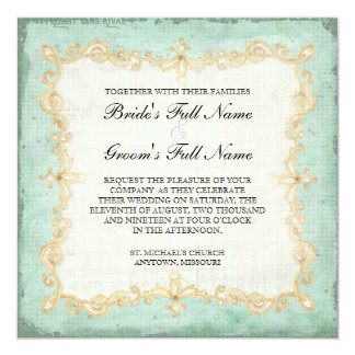 """Vintage Stargazer Lily Rose Butterfly n Hydrangea 5.25"""" Square Invitation Card"""