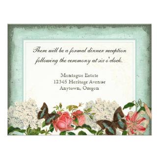 Vintage Stargazer Lily Rose Butterfly n Hydrangea Custom Invite