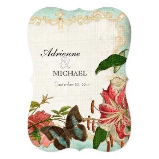 "Vintage Stargazer Lily Rose Butterfly n Hydrangea 5"" X 7"" Invitation Card"