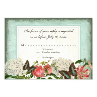 Vintage Stargazer Lily Rose Butterfly n Hydrangea Personalized Invite