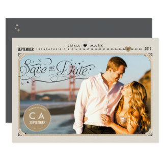 Vintage Starry Night Photo Save the Dates Card