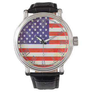 Vintage Stars & stripes Roman US flag wrist watch
