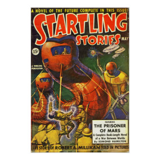 Vintage Startling Stories Pulp Science Fiction Poster