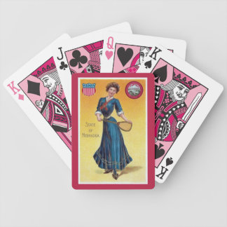 Vintage state girl Nebraska, tennis Bicycle Playing Cards