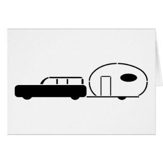 Vintage Station Wagon and RV Trailer Greeting Card