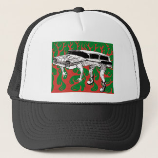 Vintage Station Wagon Red and Green Flames Trucker Hat