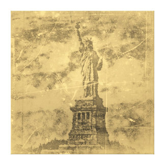 Vintage Statue Of Liberty, New York Wrapped Canvas