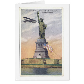 Vintage Statue of Liberty PC w/ Biplane and Flag Card