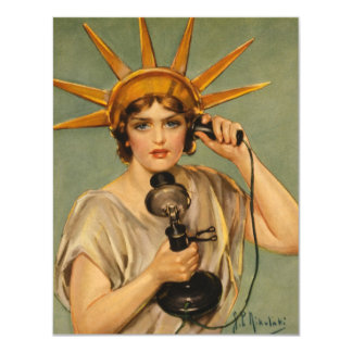 Vintage Statue of Liberty, WWI Patriotic War Ad Personalized Announcements