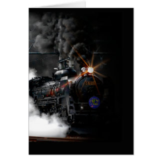 Vintage Steam Engine Black Locomotive Train Card