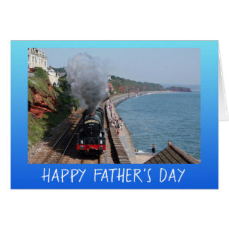 Vintage steam engine Father's Day personalised Card