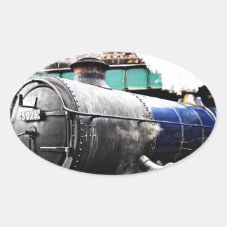 Vintage Steam Engine, Railway Train Oval Sticker