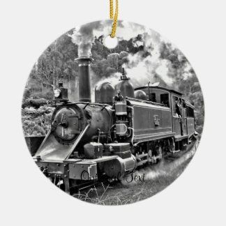 Vintage Steam Engine Train Double-Sided Ceramic Round Christmas Ornament
