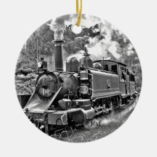 Vintage Steam Engine Train Round Ceramic Ornament