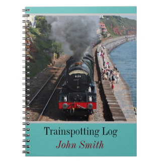 Vintage steam loco trainspotting log personalised notebooks