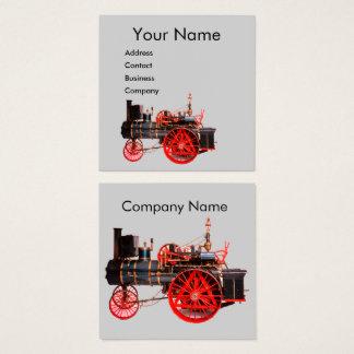 VINTAGE STEAM LOCOMOTIVE Red Grey Square Business Card