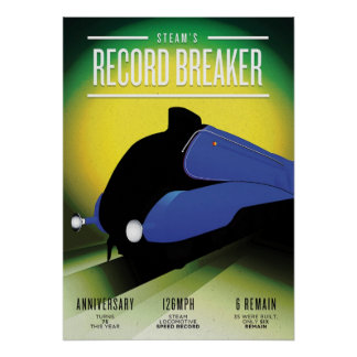 Vintage Steam Locomotive Speed Record Poster