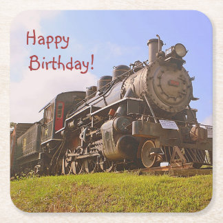 Vintage Steam Train Birthday Square Paper Coaster