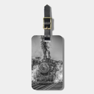Vintage steam train design luggage tag