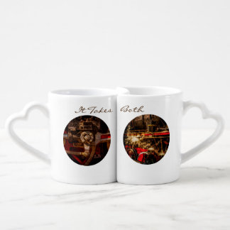 Vintage steam train gear customizable coffee mug set