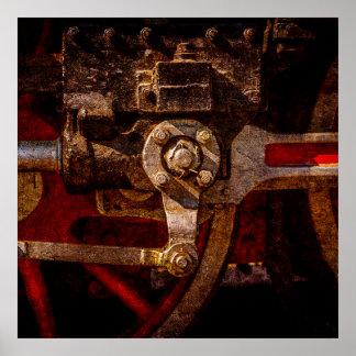 Vintage steam train gear poster