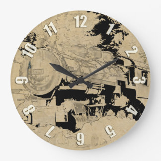 Vintage Steam Train Large Clock