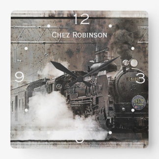 Vintage Steam Train Personalized Square Wall Clock