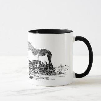 Vintage steam train sketch on mug