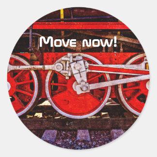 Vintage Steam Train Wheels Classic Round Sticker