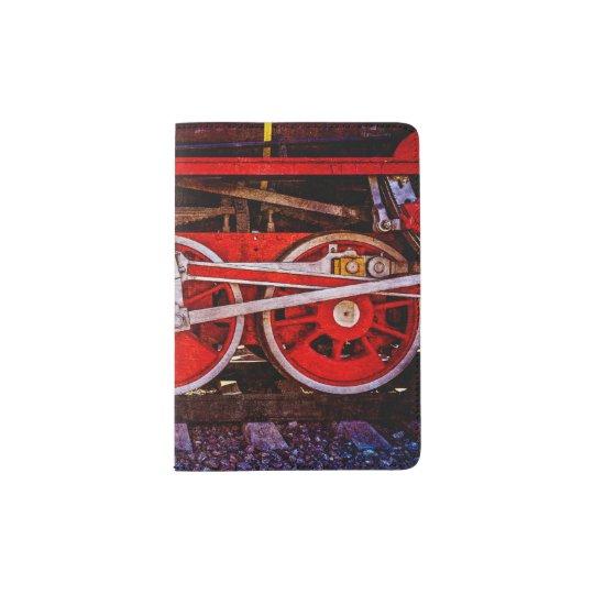 Vintage Steam Train Wheels Passport Holder